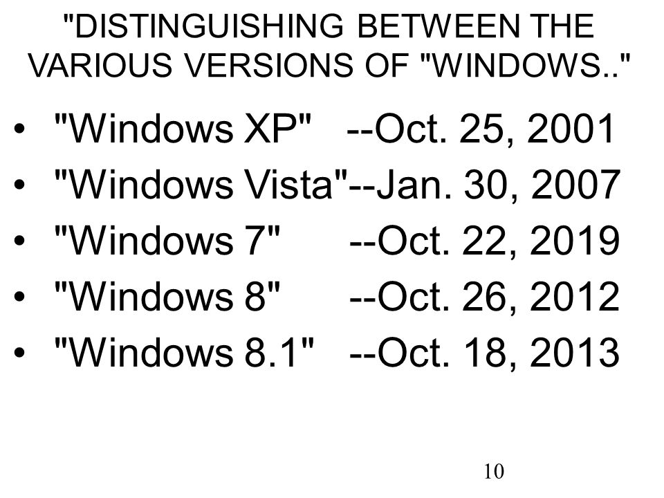 10 DISTINGUISHING BETWEEN THE VARIOUS VERSIONS OF WINDOWS.. Windows XP --Oct.