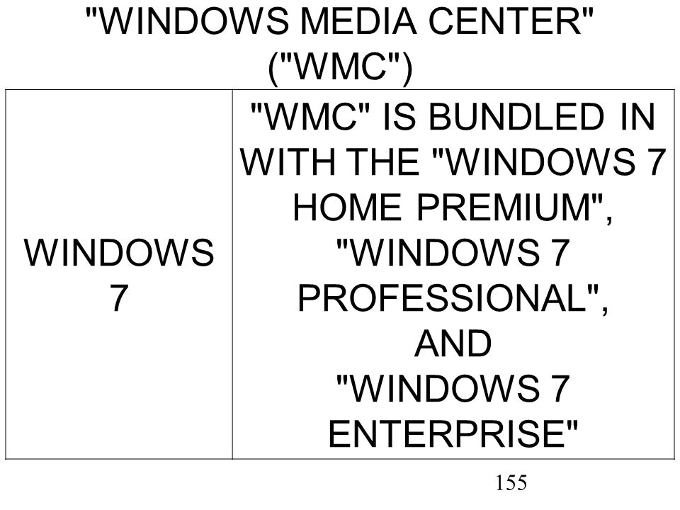 155 WINDOWS MEDIA CENTER ( WMC ) WINDOWS 7 WMC IS BUNDLED IN WITH THE WINDOWS 7 HOME PREMIUM , WINDOWS 7 PROFESSIONAL , AND WINDOWS 7 ENTERPRISE