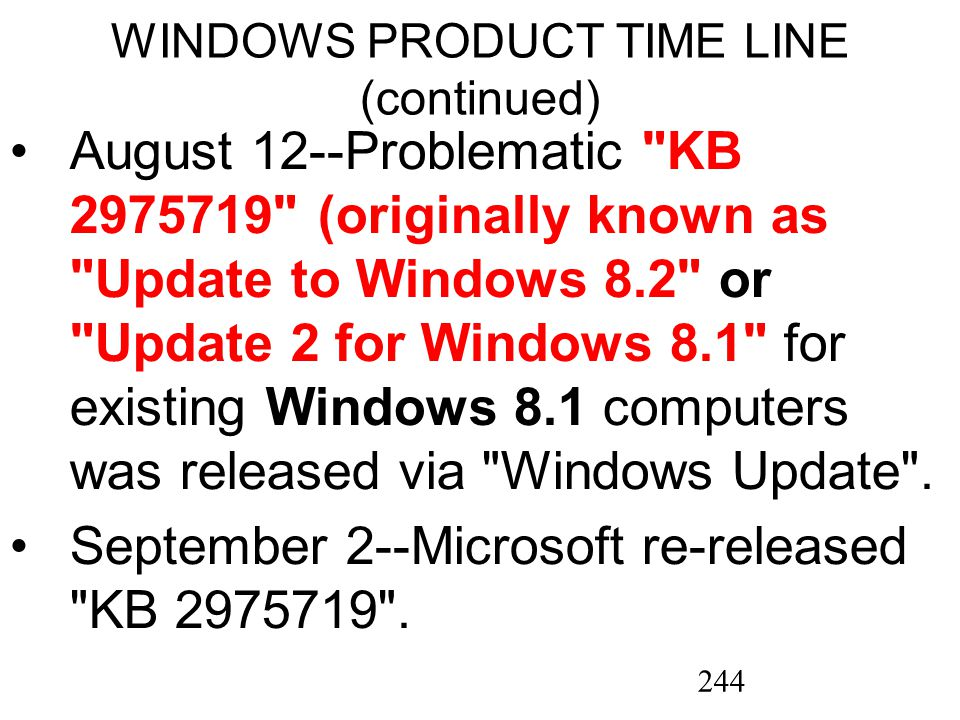 244 WINDOWS PRODUCT TIME LINE (continued) August 12--Problematic KB 2975719 (originally known as Update to Windows 8.2 or Update 2 for Windows 8.1 for existing Windows 8.1 computers was released via Windows Update .