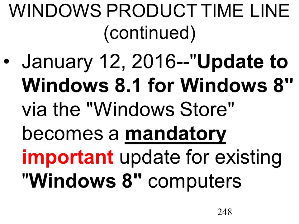 248 WINDOWS PRODUCT TIME LINE (continued) January 12, 2016-- Update to Windows 8.1 for Windows 8 via the Windows Store becomes a mandatory important update for existing Windows 8 computersmandatory