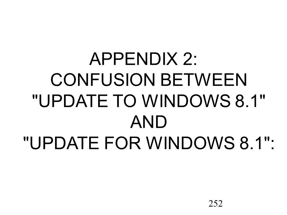 252 APPENDIX 2: CONFUSION BETWEEN UPDATE TO WINDOWS 8.1 AND UPDATE FOR WINDOWS 8.1 :