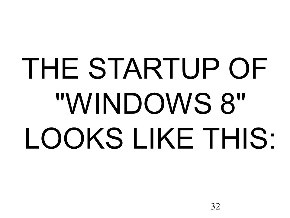 32 THE STARTUP OF WINDOWS 8 LOOKS LIKE THIS: