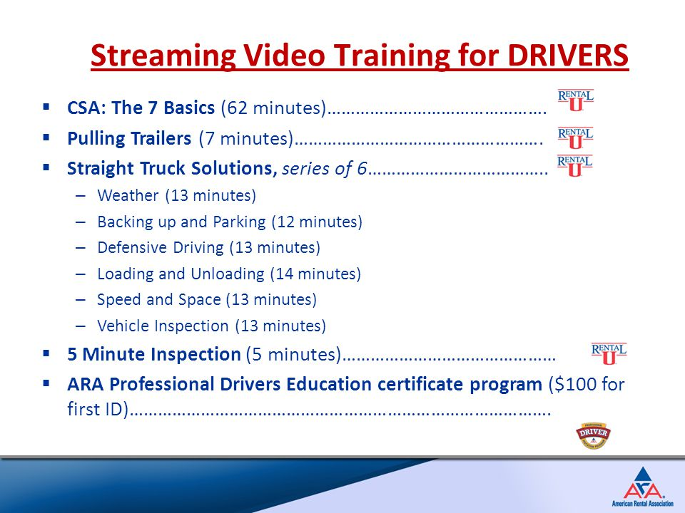  CSA: The 7 Basics (62 minutes)……………………………………….  Pulling Trailers (7 minutes)…………………………………………….