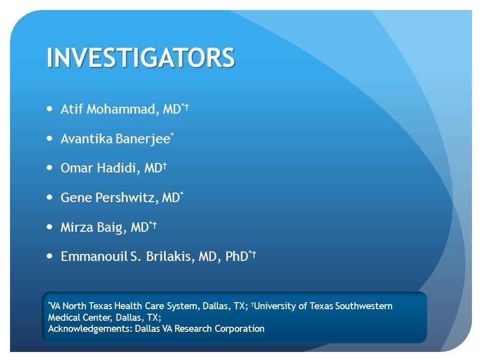 INVESTIGATORS Atif Mohammad, MD *† Avantika Banerjee * Omar Hadidi, MD † Gene Pershwitz, MD * Mirza Baig, MD *† Emmanouil S.