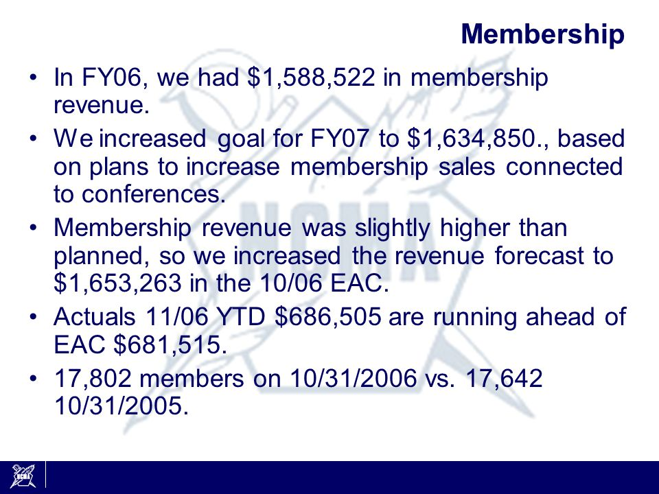 Membership In FY06, we had $1,588,522 in membership revenue.