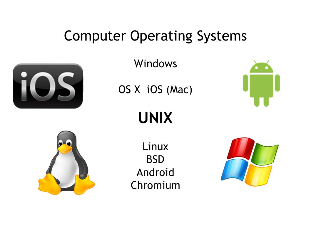 Computer Operating Systems Windows OS X iOS (Mac) UNIX Linux BSD Android Chromium