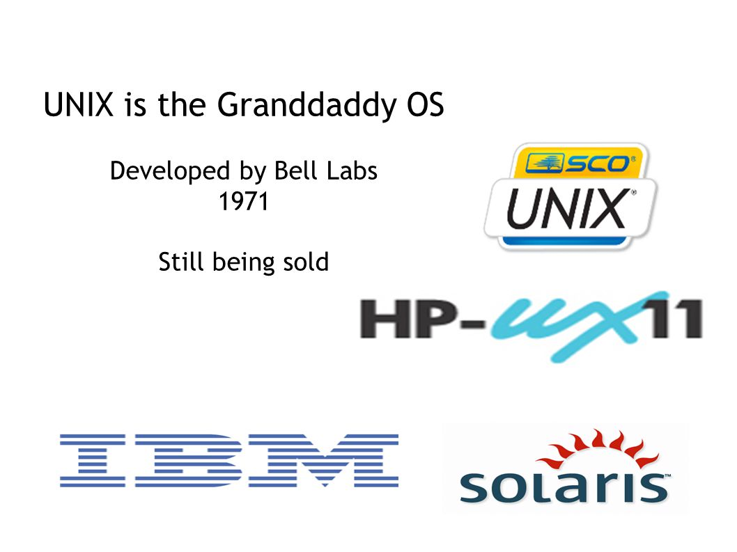 UNIX is the Granddaddy OS Developed by Bell Labs 1971 Still being sold
