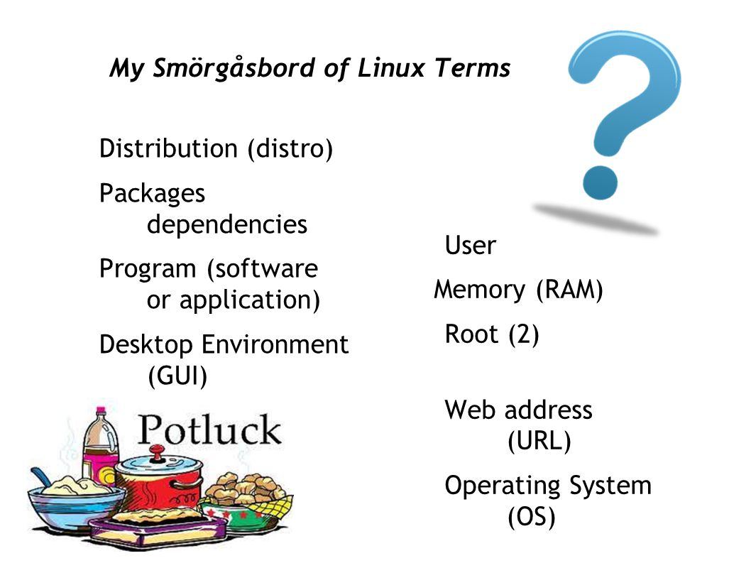 My Smörgåsbord of Linux Terms Distribution (distro) Packages dependencies Program (software or application) Desktop Environment (GUI) User Memory (RAM