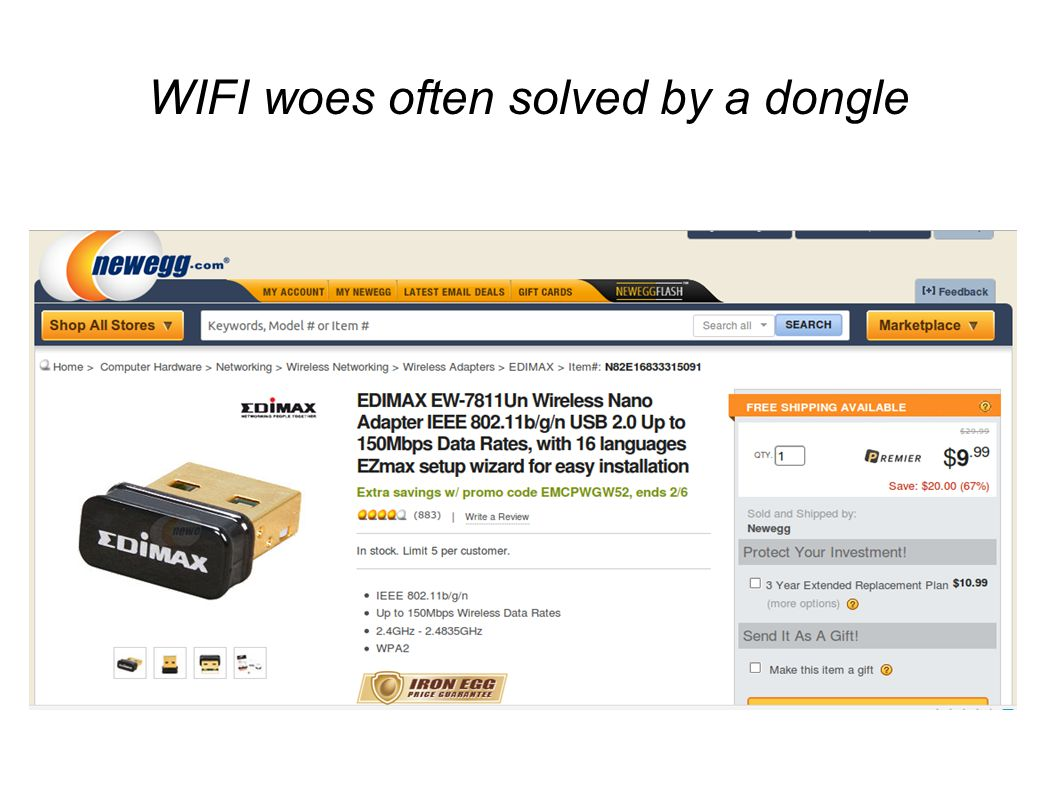 WIFI woes often solved by a dongle