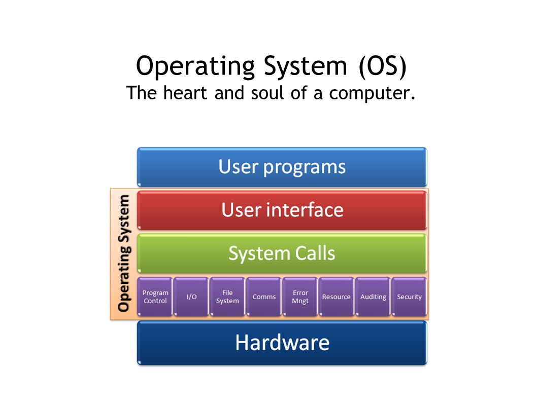 Operating System (OS) The heart and soul of a computer.