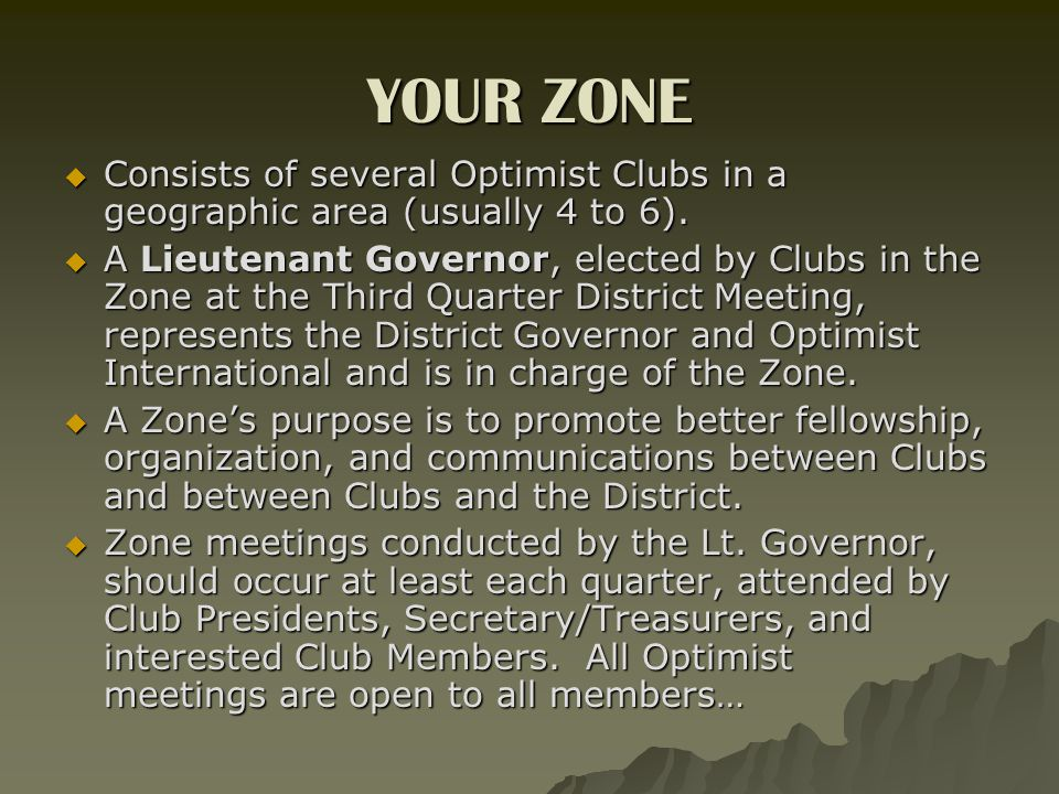 YOUR ZONE  Consists of several Optimist Clubs in a geographic area (usually 4 to 6).
