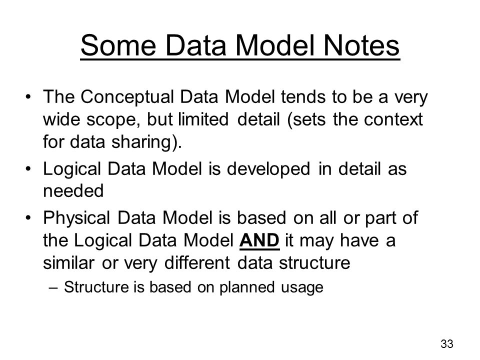32 Logical Data Model (2) –Primary key, foreign key, uniqueness, use of nulls and default values –Data integrity and business rules (Data Quality Rule