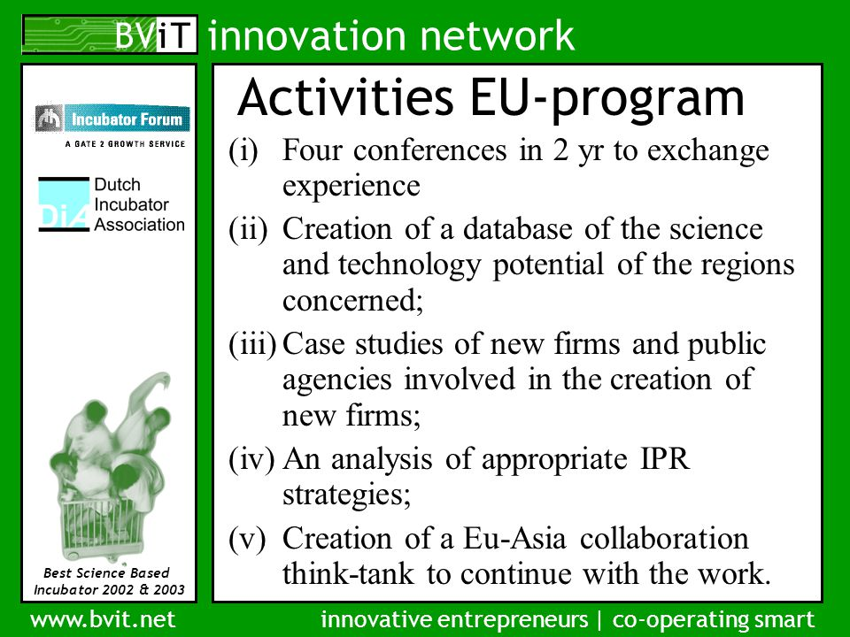innovation network www.bvit.netinnovative entrepreneurs | co-operating smart Best Science Based Incubator 2002 & 2003 Activities EU-program (i)Four conferences in 2 yr to exchange experience (ii)Creation of a database of the science and technology potential of the regions concerned; (iii)Case studies of new firms and public agencies involved in the creation of new firms; (iv)An analysis of appropriate IPR strategies; (v)Creation of a Eu-Asia collaboration think-tank to continue with the work.