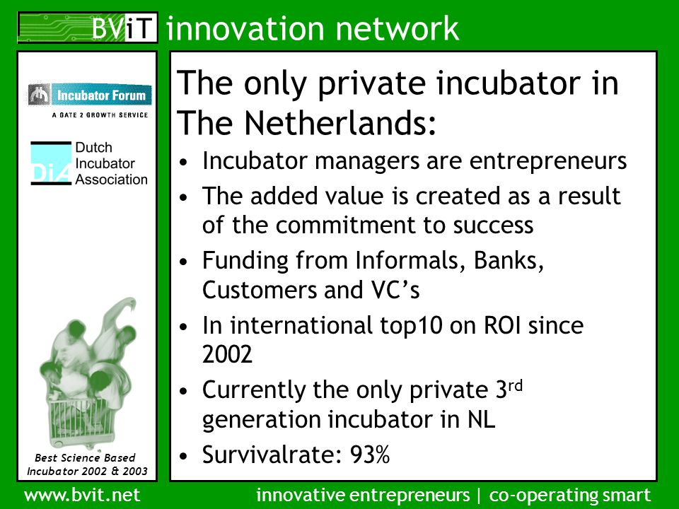 innovation network www.bvit.netinnovative entrepreneurs | co-operating smart Best Science Based Incubator 2002 & 2003 The only private incubator in The Netherlands: Incubator managers are entrepreneurs The added value is created as a result of the commitment to success Funding from Informals, Banks, Customers and VC's In international top10 on ROI since 2002 Currently the only private 3 rd generation incubator in NL Survivalrate: 93%