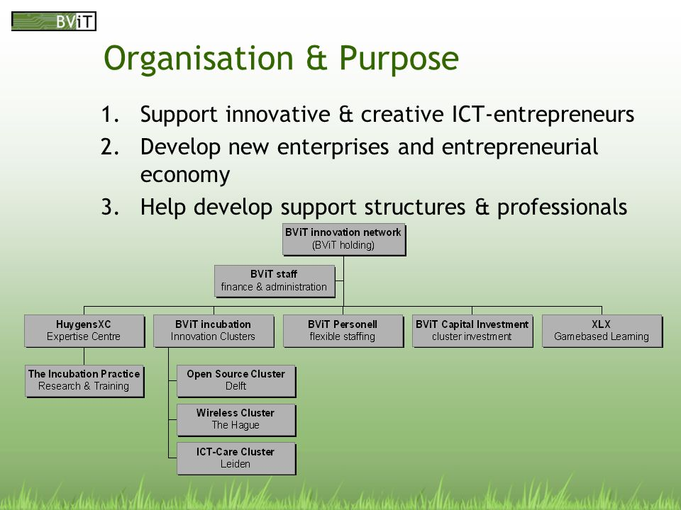 Organisation & Purpose 1.Support innovative & creative ICT-entrepreneurs 2.Develop new enterprises and entrepreneurial economy 3.Help develop support structures & professionals