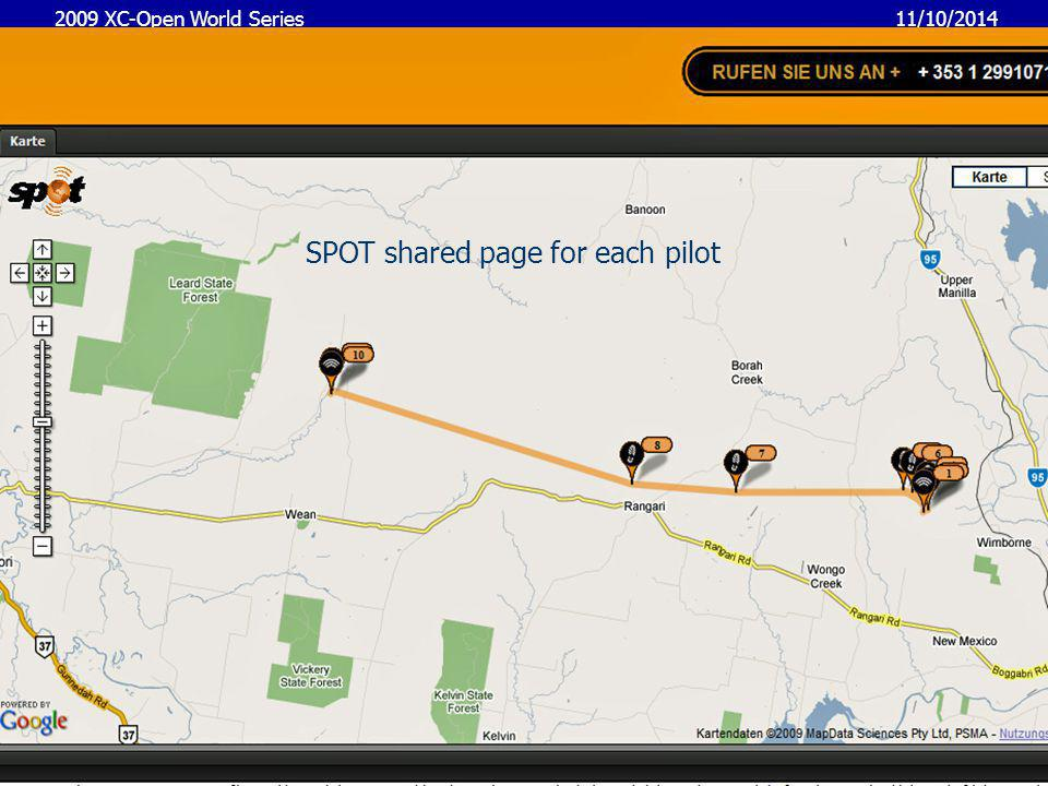 11/10/2014 2009 XC-Open World Series 10 Google earth network link for last pilot positions