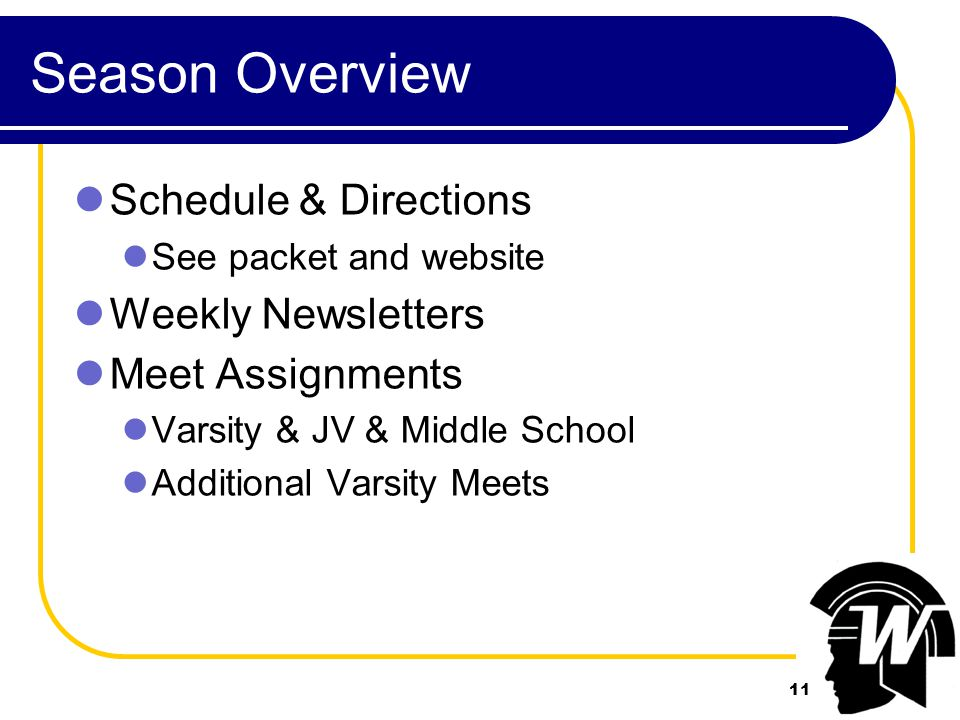 11 Season Overview Schedule & Directions See packet and website Weekly Newsletters Meet Assignments Varsity & JV & Middle School Additional Varsity Meets 11
