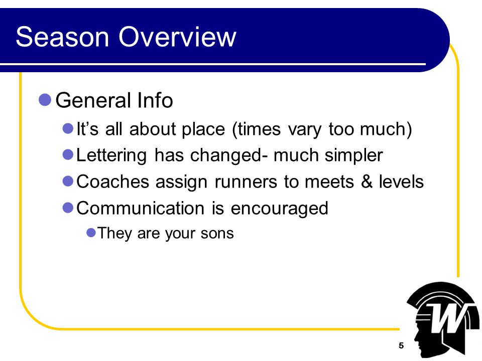 5 Season Overview General Info It's all about place (times vary too much) Lettering has changed- much simpler Coaches assign runners to meets & levels Communication is encouraged They are your sons 5