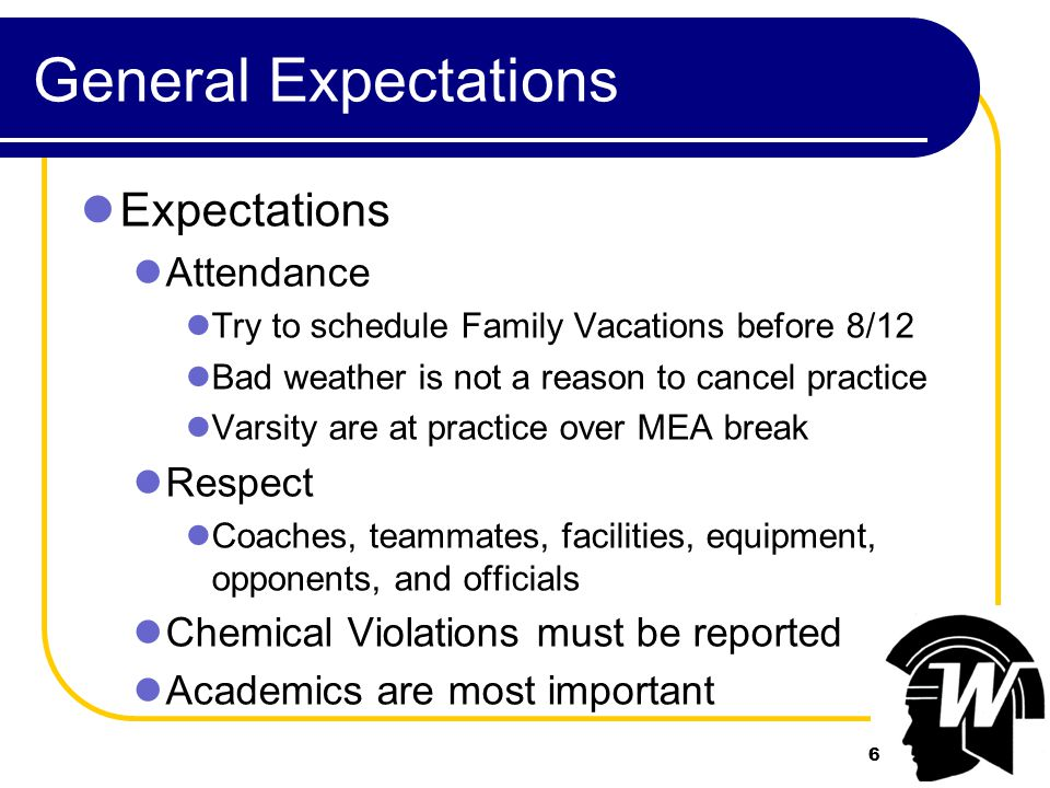 7 Practice Expectations Expectations Sleep (9 hours a night) Eating healthy Morning Practice Optional, but...