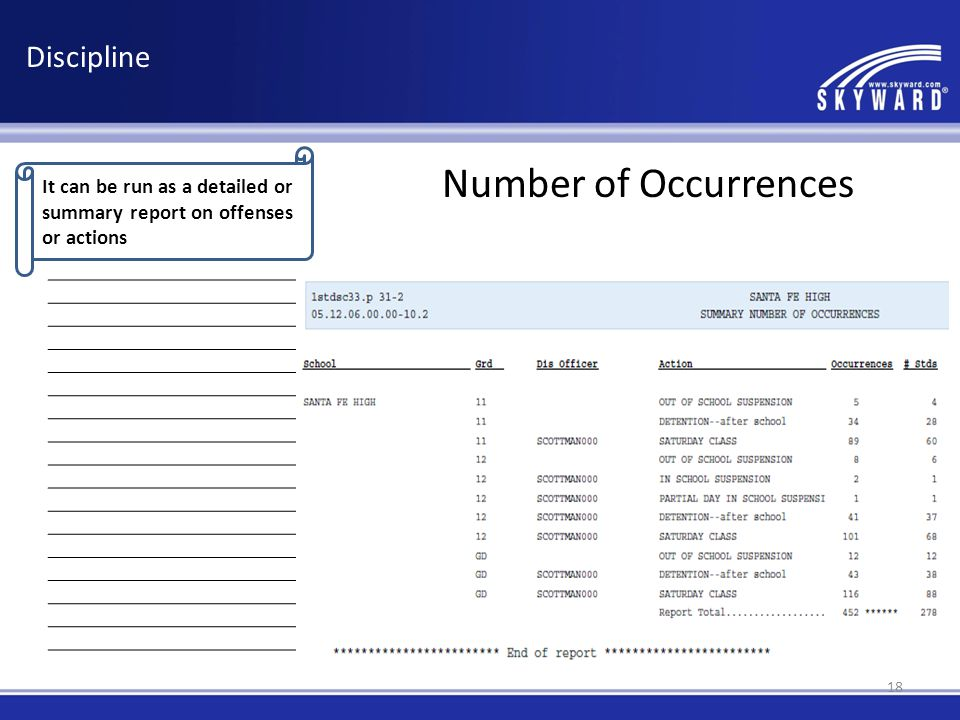 It can be run as a detailed or summary report on offenses or actions Discipline Number of Occurrences 18