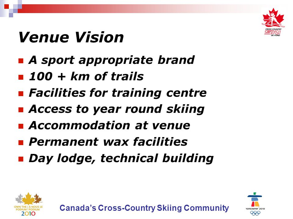 Canada's Cross-Country Skiing Community The Sports Future Role Obligation to make venue successful Will continue to work towards sport vision for the venue  Accommodation  Trail development  Facility development Support sport development and events