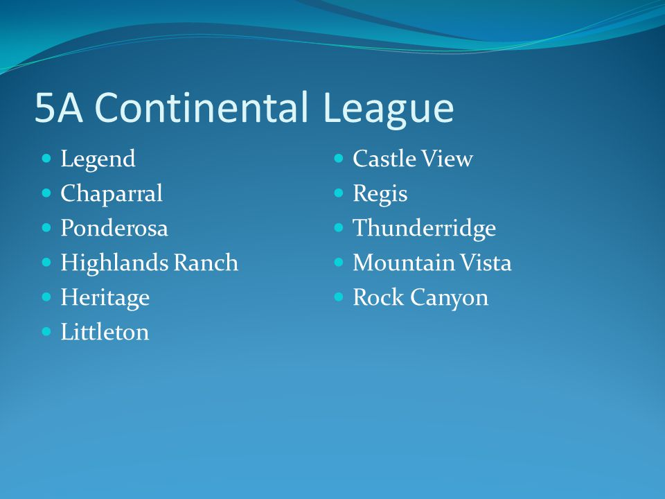 5A Continental League Legend Chaparral Ponderosa Highlands Ranch Heritage Littleton Castle View Regis Thunderridge Mountain Vista Rock Canyon