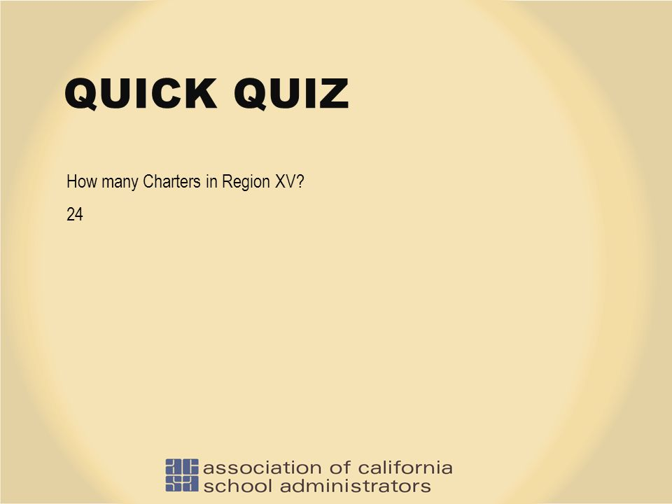 QUICK QUIZ How many Charters in Region XV? 24