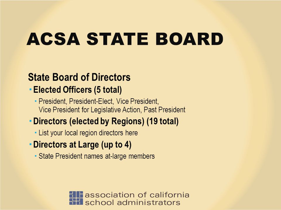 ACSA STATE BOARD State Board of Directors  Elected Officers (5 total)  President, President-Elect, Vice President, Vice President for Legislative Ac
