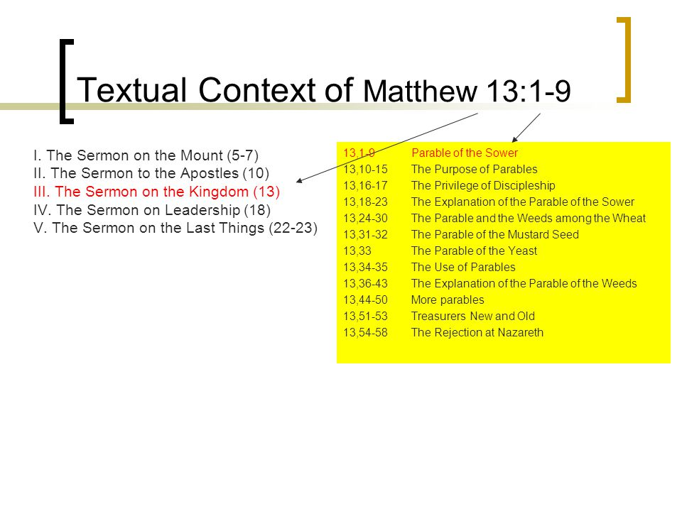 Textual Context of Matthew 13:1-9 I. The Sermon on the Mount (5-7) II.