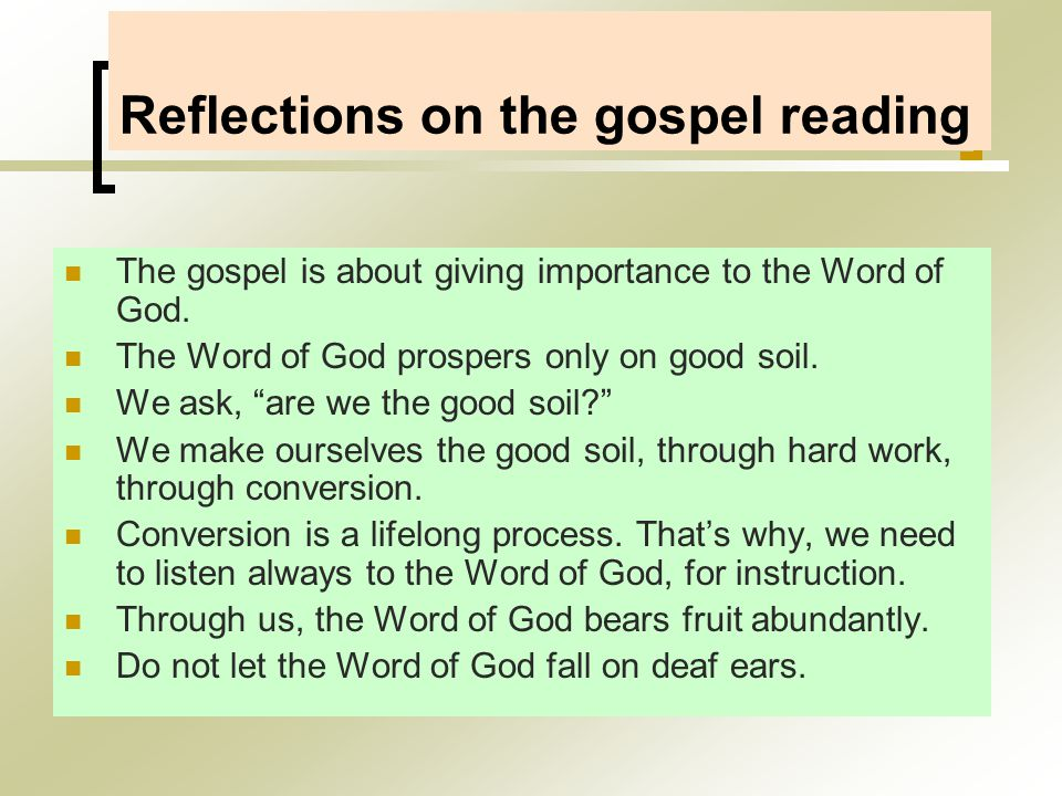 Reflections on the gospel reading The gospel is about giving importance to the Word of God.