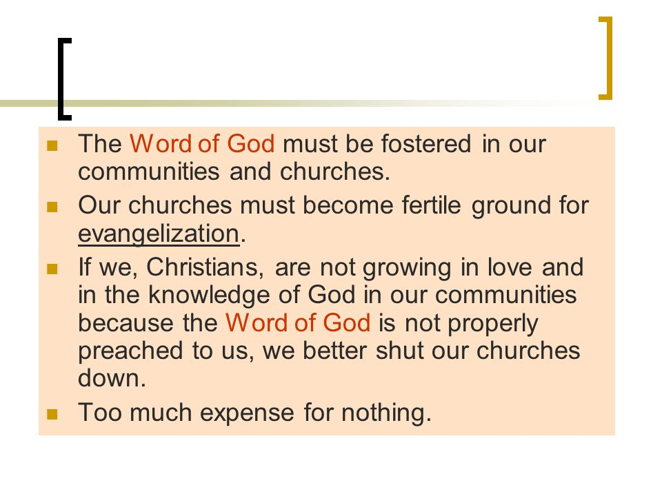 The Word of God must be fostered in our communities and churches.