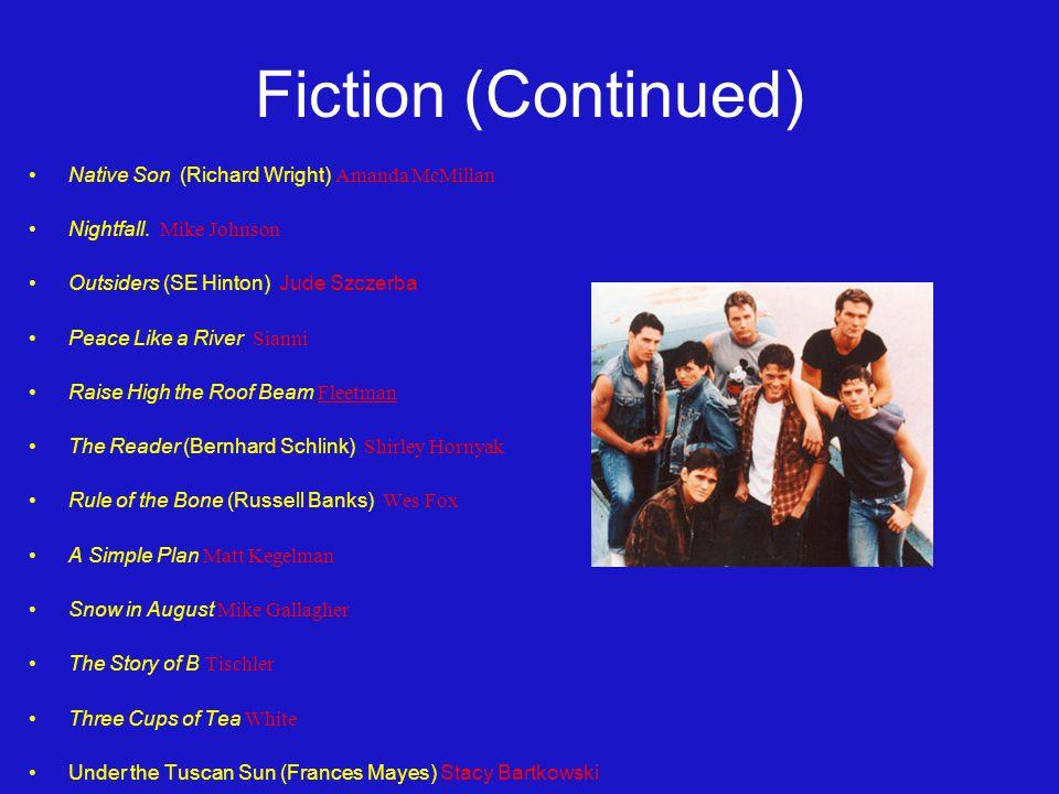 Fiction (Continued) Native Son (Richard Wright) Amanda McMillan Nightfall.