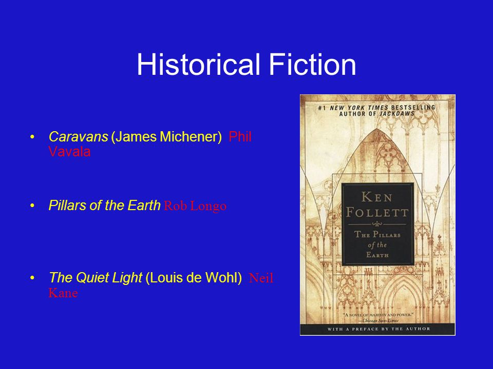 Historical Fiction Caravans (James Michener) Phil Vavala Pillars of the Earth Rob Longo The Quiet Light (Louis de Wohl) Neil Kane