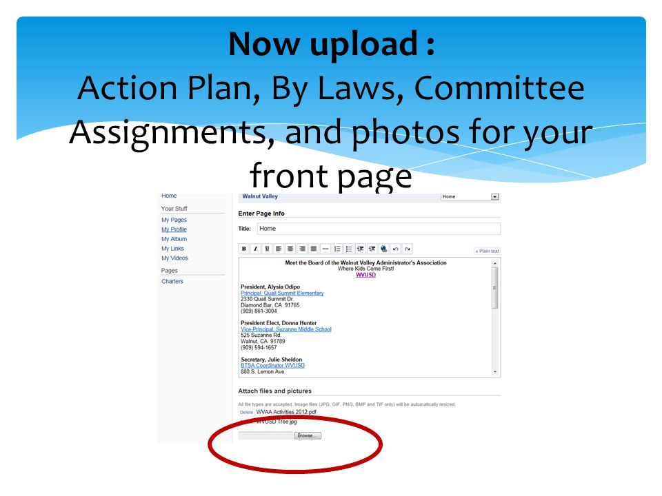 Now upload : Action Plan, By Laws, Committee Assignments, and photos for your front page