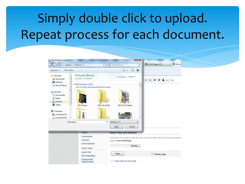 Simply double click to upload. Repeat process for each document.