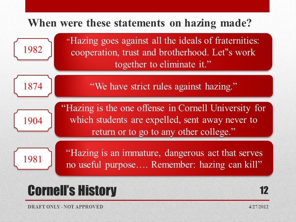 "Cornell's History 4/27/2012 12 When were these statements on hazing made? "" Hazing goes against all the ideals of fraternities: cooperation, trust and"
