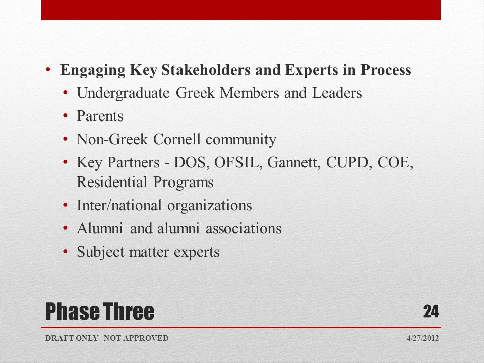 Phase Three Engaging Key Stakeholders and Experts in Process Undergraduate Greek Members and Leaders Parents Non-Greek Cornell community Key Partners