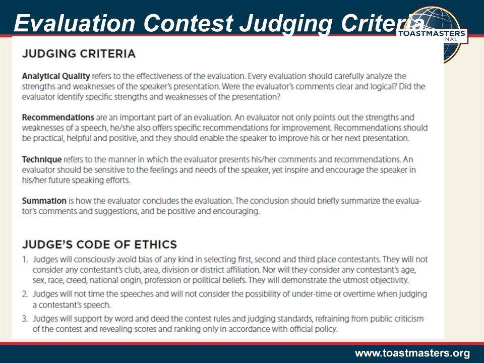 Evaluation Contest Judging Criteria