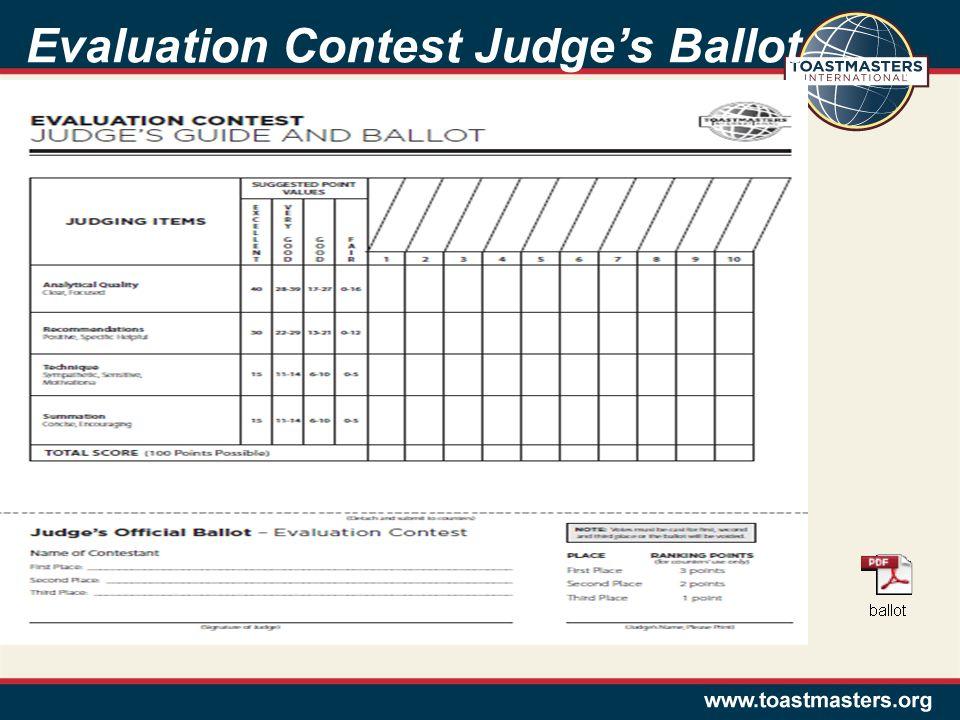Evaluation Contest Judge's Ballot
