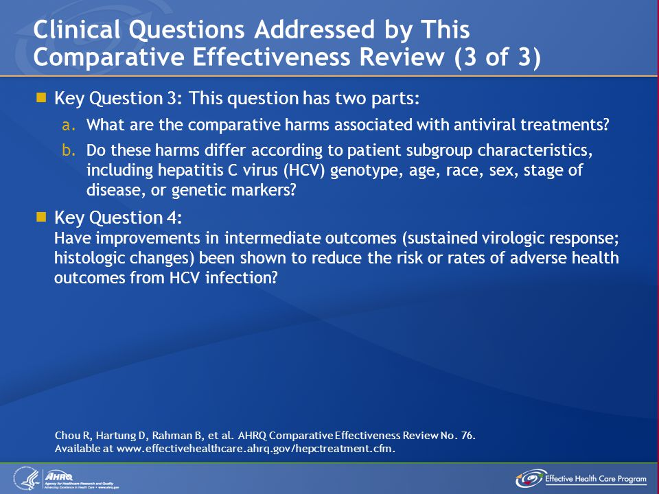  Key Question 3: This question has two parts: a.What are the comparative harms associated with antiviral treatments.