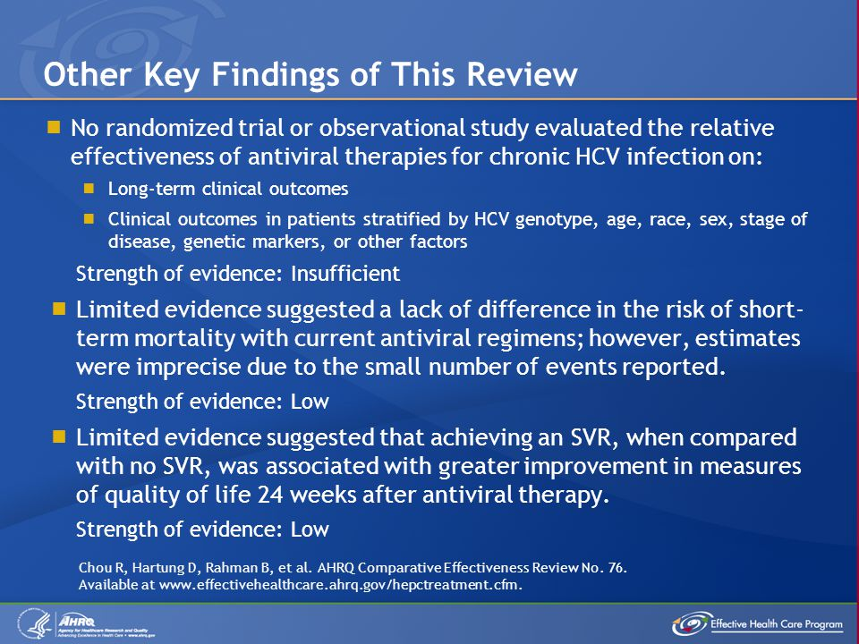 No randomized trial or observational study evaluated the relative effectiveness of antiviral therapies for chronic HCV infection on:  Long-term clinical outcomes  Clinical outcomes in patients stratified by HCV genotype, age, race, sex, stage of disease, genetic markers, or other factors Strength of evidence: Insufficient  Limited evidence suggested a lack of difference in the risk of short- term mortality with current antiviral regimens; however, estimates were imprecise due to the small number of events reported.