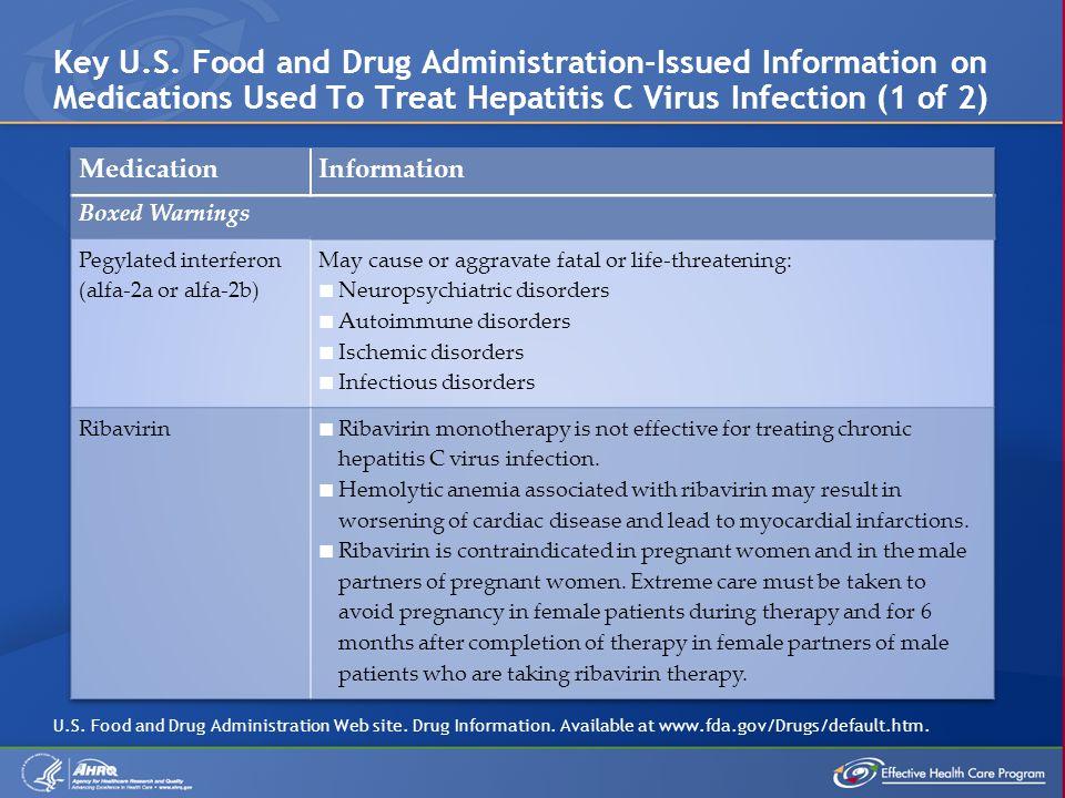 Key U.S. Food and Drug Administration-Issued Information on Medications Used To Treat Hepatitis C Virus Infection (1 of 2) U.S. Food and Drug Administ