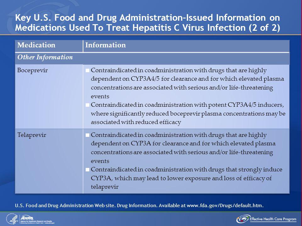 Key U.S. Food and Drug Administration-Issued Information on Medications Used To Treat Hepatitis C Virus Infection (2 of 2) U.S. Food and Drug Administ