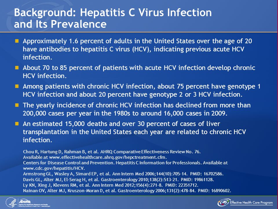  Chronic hepatitis C virus (HCV) infection can lead to complications of the liver, including cirrhosis, liver failure, and hepatocellular cancer.