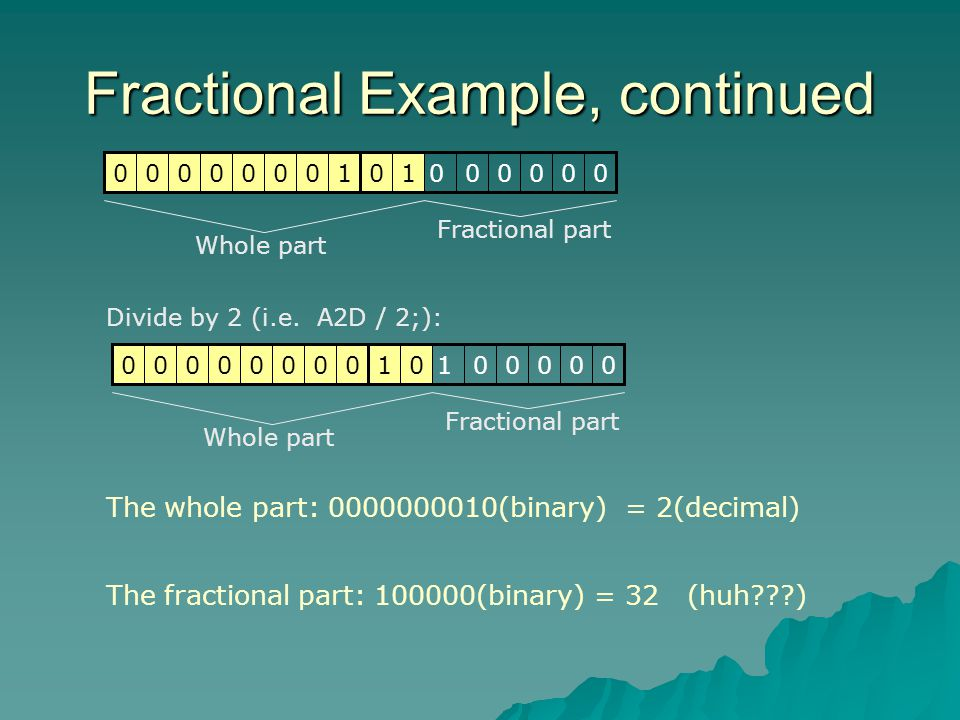 Fractional Example, continued Divide by 2 (i.e.