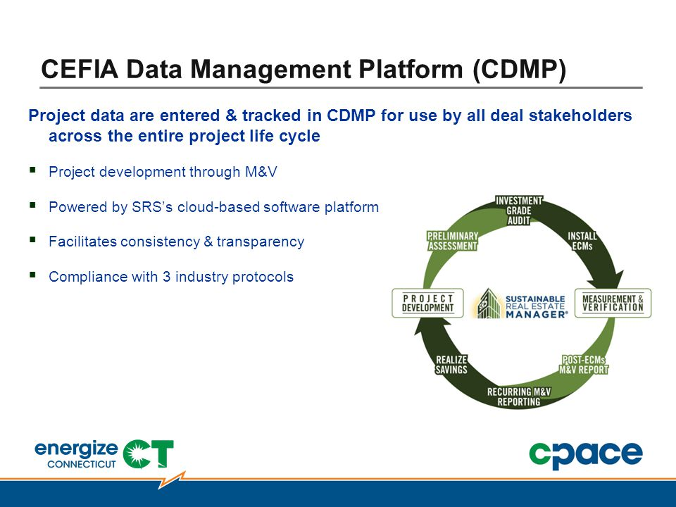 Project data are entered & tracked in CDMP for use by all deal stakeholders across the entire project life cycle  Project development through M&V  Powered by SRS's cloud-based software platform  Facilitates consistency & transparency  Compliance with 3 industry protocols CEFIA Data Management Platform (CDMP)