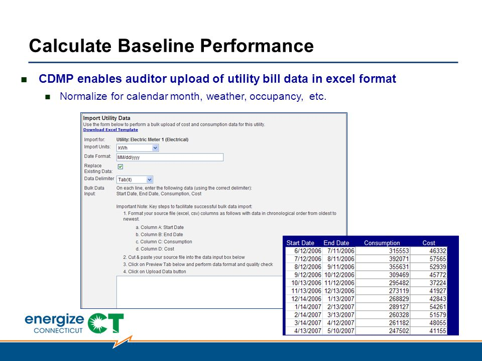 Calculate Baseline Performance CDMP enables auditor upload of utility bill data in excel format Normalize for calendar month, weather, occupancy, etc.