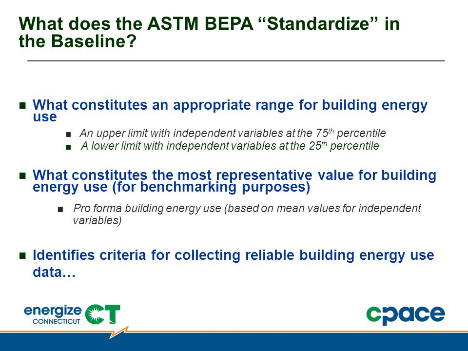 What does the ASTM BEPA Standardize in the Baseline.