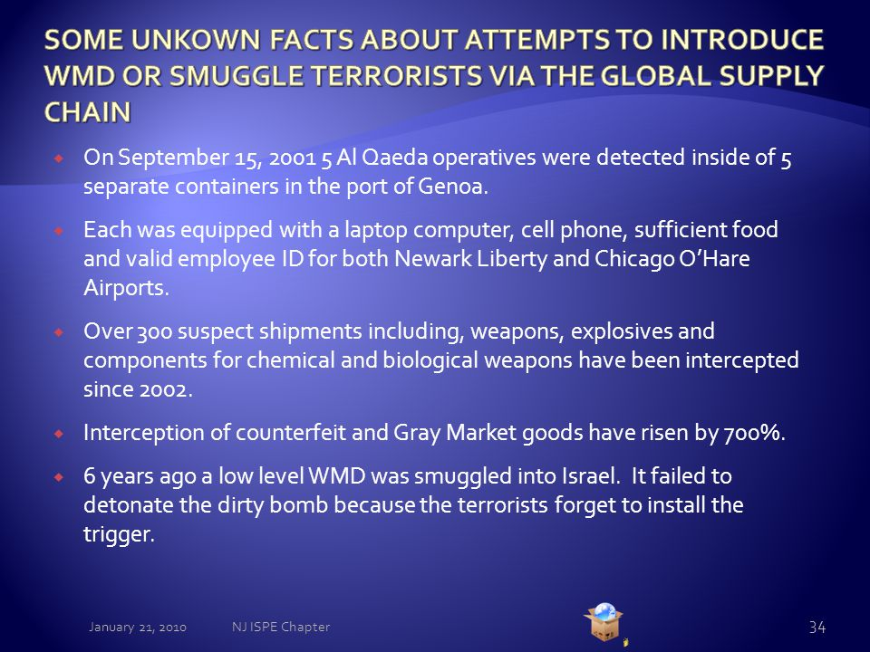  On September 15, 2001 5 Al Qaeda operatives were detected inside of 5 separate containers in the port of Genoa.