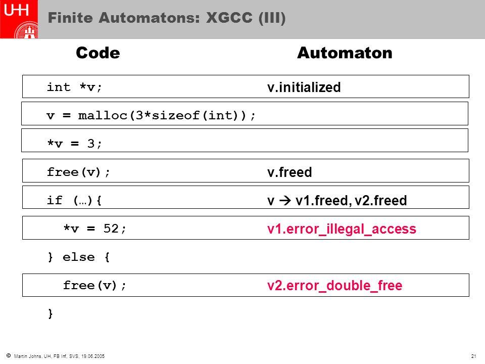  Martin Johns, UH, FB Inf, SVS, 19.06.200521 Finite Automatons: XGCC (III) int *v; v = malloc(3*sizeof(int)); *v = 3; free(v); if (…){ *v = 52; } else { free(v); } v.initialized v.freed v  v1.freed, v2.freed v1.error_illegal_access v2.error_double_free CodeAutomaton